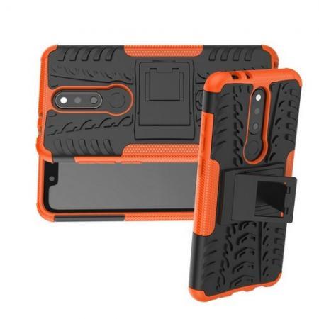 Двухкомпонентный Противоскользящий Гибридный Противоударный Чехол для Nokia 5.1 Plus с Подставкой Оранжевый