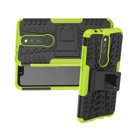 Двухкомпонентный Противоскользящий Гибридный Противоударный Чехол для Nokia 5.1 Plus с Подставкой Зеленый