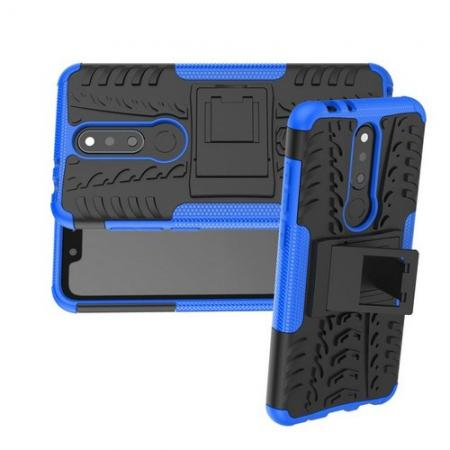 Двухкомпонентный Противоскользящий Гибридный Противоударный Чехол для Nokia 5.1 Plus с Подставкой Синий