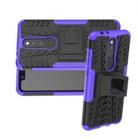 Двухкомпонентный Противоскользящий Гибридный Противоударный Чехол для Nokia 5.1 Plus с Подставкой Фиолетовый