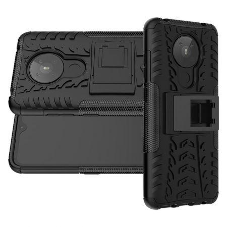 Двухкомпонентный Противоскользящий Гибридный Противоударный Чехол для Nokia 5.3 с Подставкой Черный