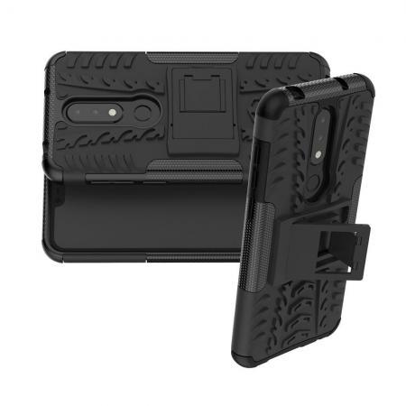 Двухкомпонентный Противоскользящий Гибридный Противоударный Чехол для Nokia 6.1 Plus с Подставкой Черный