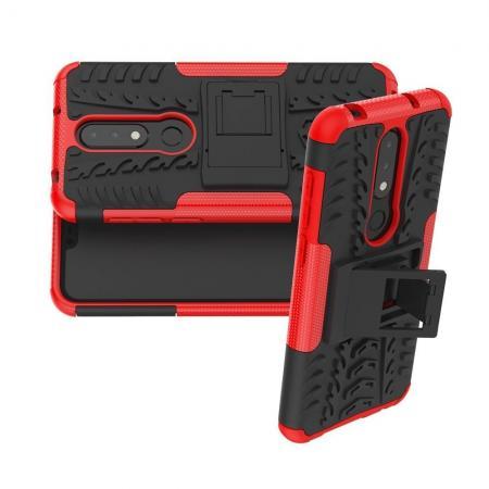 Двухкомпонентный Противоскользящий Гибридный Противоударный Чехол для Nokia 6.1 Plus с Подставкой Красный