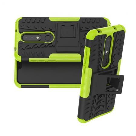 Двухкомпонентный Противоскользящий Гибридный Противоударный Чехол для Nokia 6.1 Plus с Подставкой Зеленый