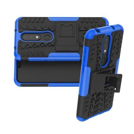 Двухкомпонентный Противоскользящий Гибридный Противоударный Чехол для Nokia 6.1 Plus с Подставкой Синий