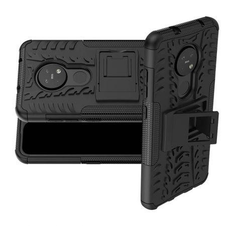 Двухкомпонентный Противоскользящий Гибридный Противоударный Чехол для Nokia 6.2 / 7.2 с Подставкой Черный