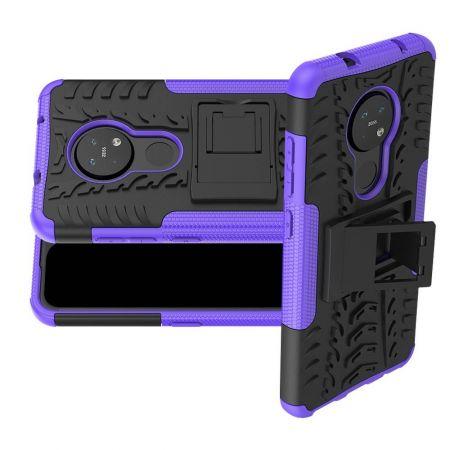 Двухкомпонентный Противоскользящий Гибридный Противоударный Чехол для Nokia 6.2 / 7.2 с Подставкой Фиолетовый