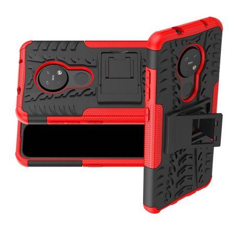 Двухкомпонентный Противоскользящий Гибридный Противоударный Чехол для Nokia 6.2 / 7.2 с Подставкой Красный