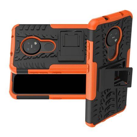 Двухкомпонентный Противоскользящий Гибридный Противоударный Чехол для Nokia 6.2 / 7.2  с Подставкой Оранжевый