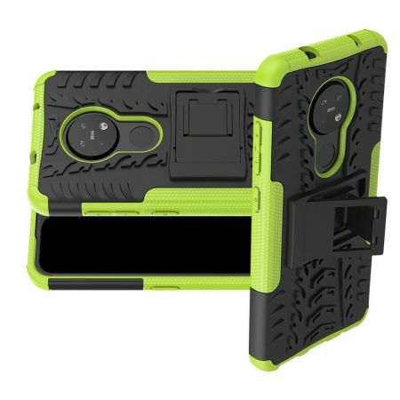 Двухкомпонентный Противоскользящий Гибридный Противоударный Чехол для Nokia 6.2 / 7.2 с Подставкой Зеленый