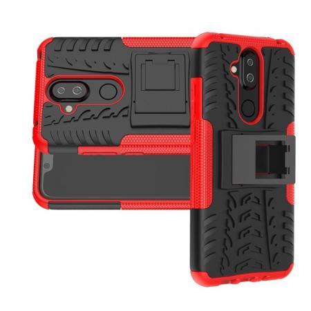 Двухкомпонентный Противоскользящий Гибридный Противоударный Чехол для Nokia 8.1 с Подставкой Красный