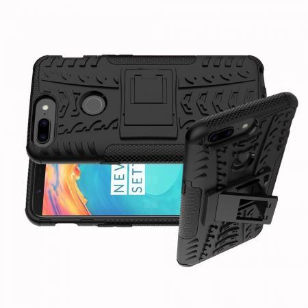 Двухкомпонентный Противоскользящий Гибридный Противоударный Чехол для OnePlus 5T с Подставкой Черный