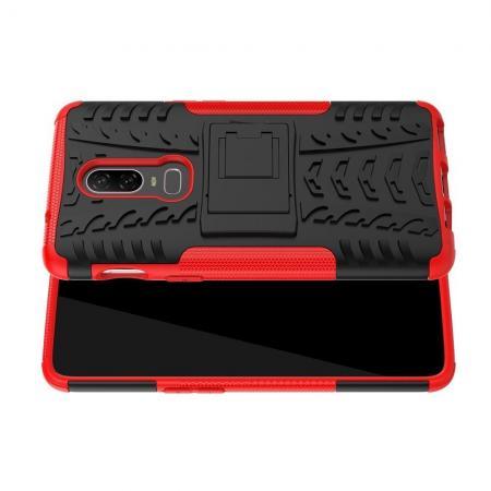 Двухкомпонентный Противоскользящий Гибридный Противоударный Чехол для OnePlus 6 с Подставкой Красный