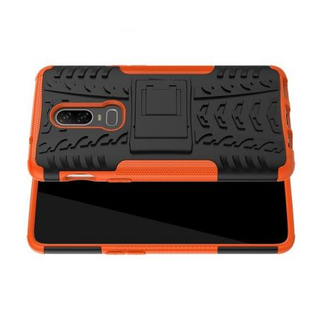 Двухкомпонентный Противоскользящий Гибридный Противоударный Чехол для OnePlus 6 с Подставкой Оранжевый