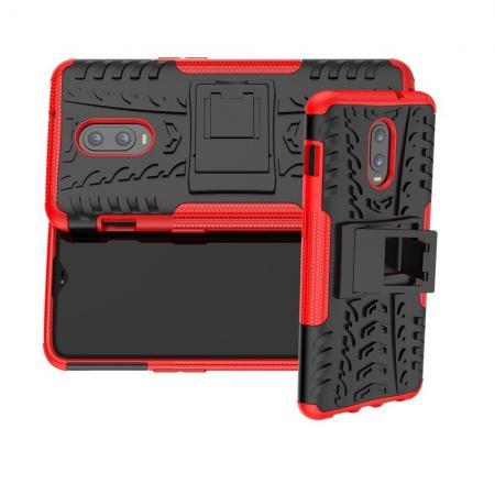 Двухкомпонентный Противоскользящий Гибридный Противоударный Чехол для Oneplus 6T с Подставкой Красный