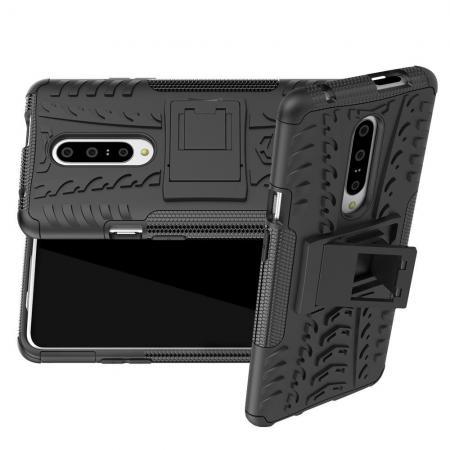 Двухкомпонентный Противоскользящий Гибридный Противоударный Чехол для OnePlus 7 Pro с Подставкой Черный