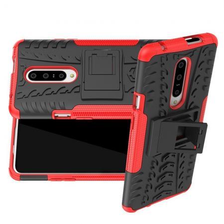 Двухкомпонентный Противоскользящий Гибридный Противоударный Чехол для OnePlus 7 Pro с Подставкой Красный