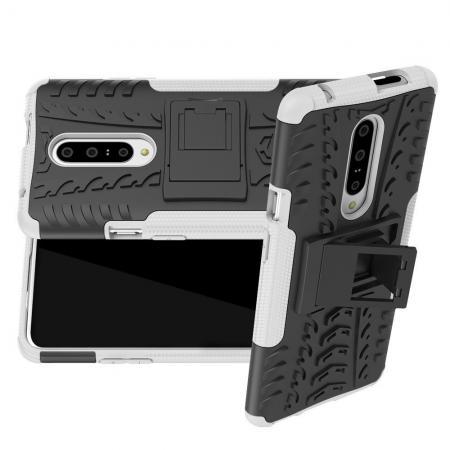 Двухкомпонентный Противоскользящий Гибридный Противоударный Чехол для OnePlus 7 Pro с Подставкой Белый