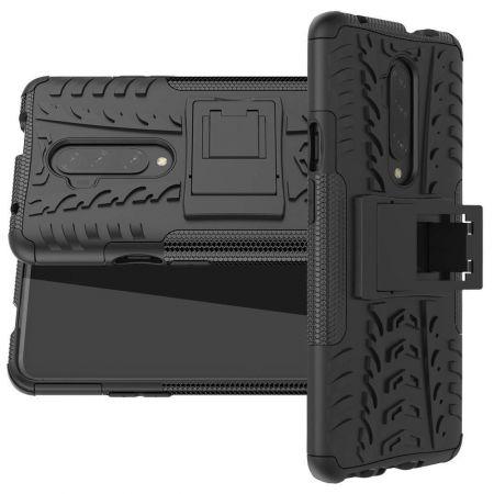 Двухкомпонентный Противоскользящий Гибридный Противоударный Чехол для OnePlus 7T Pro с Подставкой Черный