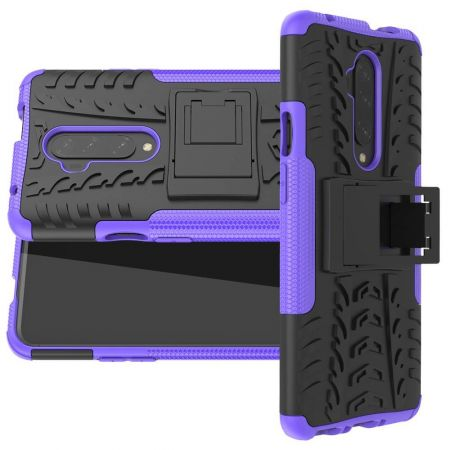 Двухкомпонентный Противоскользящий Гибридный Противоударный Чехол для OnePlus 7T Pro с Подставкой Фиолетовый