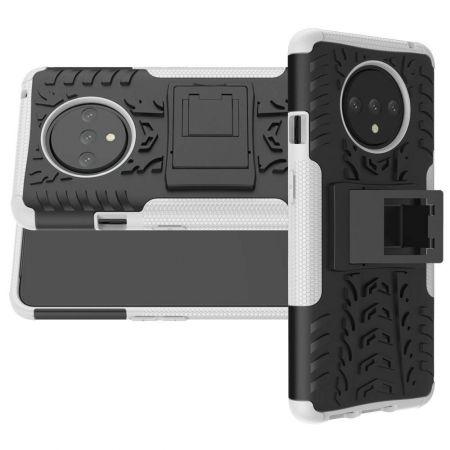 Двухкомпонентный Противоскользящий Гибридный Противоударный Чехол для OnePlus 7T с Подставкой Белый