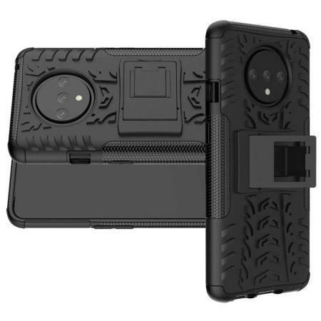 Двухкомпонентный Противоскользящий Гибридный Противоударный Чехол для OnePlus 7T с Подставкой Черный