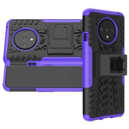 Двухкомпонентный Противоскользящий Гибридный Противоударный Чехол для OnePlus 7T с Подставкой Фиолетовый