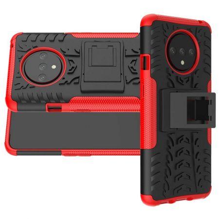 Двухкомпонентный Противоскользящий Гибридный Противоударный Чехол для OnePlus 7T с Подставкой Красный