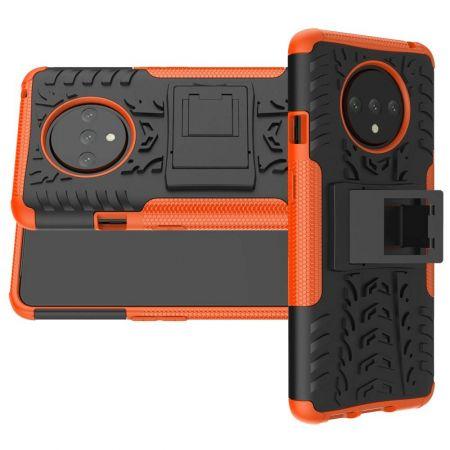 Двухкомпонентный Противоскользящий Гибридный Противоударный Чехол для OnePlus 7T с Подставкой Оранжевый