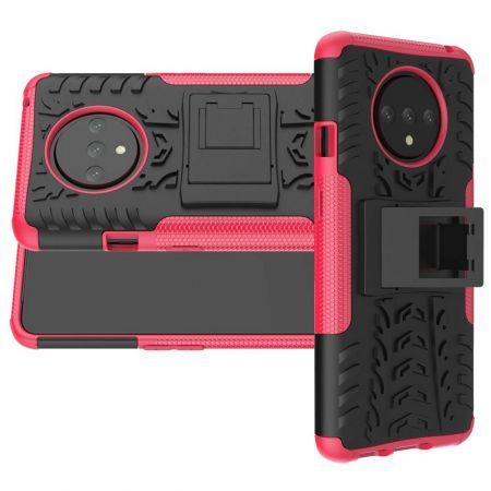 Двухкомпонентный Противоскользящий Гибридный Противоударный Чехол для OnePlus 7T с Подставкой Розовый