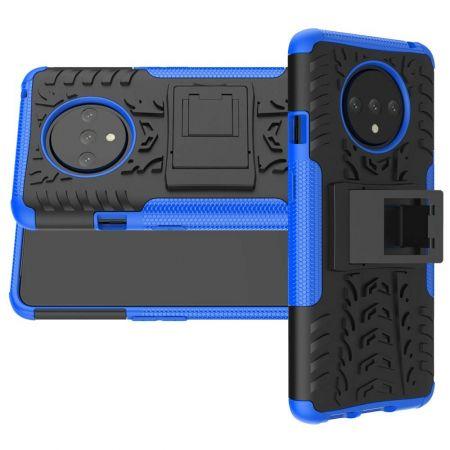 Двухкомпонентный Противоскользящий Гибридный Противоударный Чехол для OnePlus 7T с Подставкой Синий