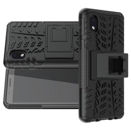 Двухкомпонентный Противоскользящий Гибридный Противоударный Чехол для Samsung Galaxy A01 Core с Подставкой Черный