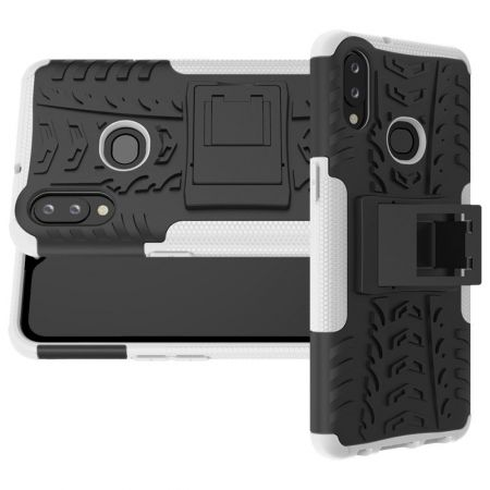Двухкомпонентный Противоскользящий Гибридный Противоударный Чехол для Samsung Galaxy A10s с Подставкой Белый