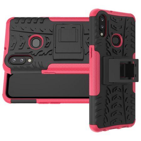 Двухкомпонентный Противоскользящий Гибридный Противоударный Чехол для Samsung Galaxy A10s с Подставкой Розовый