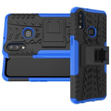 Двухкомпонентный Противоскользящий Гибридный Противоударный Чехол для Samsung Galaxy A10s с Подставкой Синий