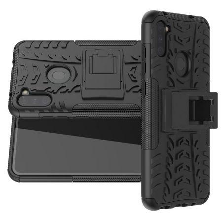 Двухкомпонентный Противоскользящий Гибридный Противоударный Чехол для Samsung Galaxy A11 / Galaxy M11 с Подставкой Черный
