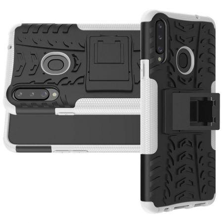 Двухкомпонентный Противоскользящий Гибридный Противоударный Чехол для Samsung Galaxy A20s с Подставкой Белый