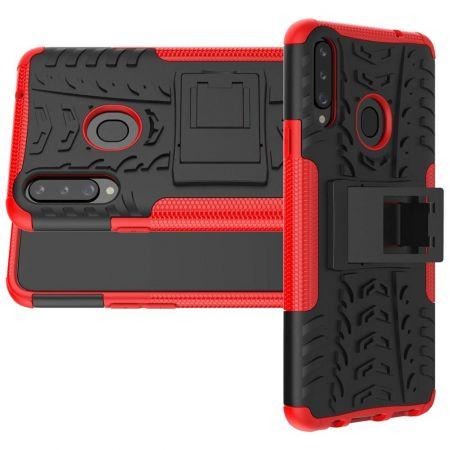 Двухкомпонентный Противоскользящий Гибридный Противоударный Чехол для Samsung Galaxy A20s с Подставкой Красный