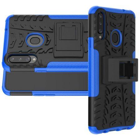 Двухкомпонентный Противоскользящий Гибридный Противоударный Чехол для Samsung Galaxy A20s с Подставкой Синий