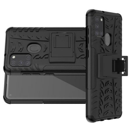 Двухкомпонентный Противоскользящий Гибридный Противоударный Чехол для Samsung Galaxy A21s с Подставкой Черный