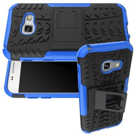 Двухкомпонентный Противоскользящий Гибридный Противоударный Чехол для Samsung Galaxy A3 2017 SM-A320F с Подставкой Синий
