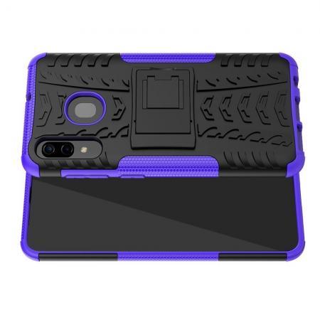 Двухкомпонентный Противоскользящий Гибридный Противоударный Чехол для Samsung Galaxy A30 / A20 с Подставкой Фиолетовый