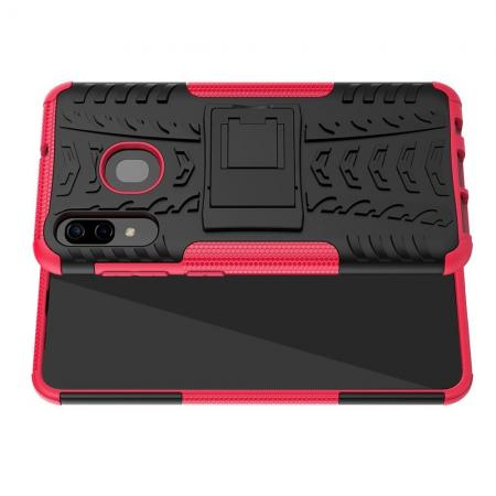 Двухкомпонентный Противоскользящий Гибридный Противоударный Чехол для Samsung Galaxy A30 / A20 с Подставкой Розовый