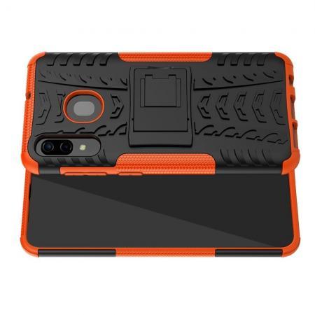 Двухкомпонентный Противоскользящий Гибридный Противоударный Чехол для Samsung Galaxy A30 / A20 с Подставкой Оранжевый