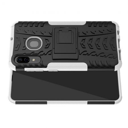 Двухкомпонентный Противоскользящий Гибридный Противоударный Чехол для Samsung Galaxy A30 / A20 с Подставкой Белый