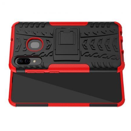Двухкомпонентный Противоскользящий Гибридный Противоударный Чехол для Samsung Galaxy A30 / A20 с Подставкой Красный