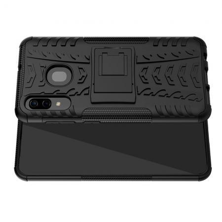 Двухкомпонентный Противоскользящий Гибридный Противоударный Чехол для Samsung Galaxy A30 / A20 с Подставкой Черный