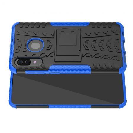 Двухкомпонентный Противоскользящий Гибридный Противоударный Чехол для Samsung Galaxy A30 / A20 с Подставкой Синий
