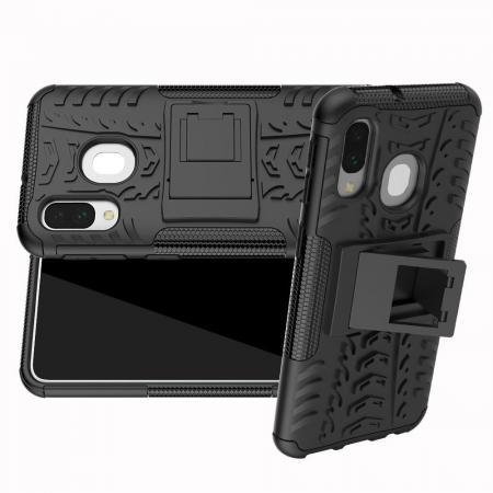 Двухкомпонентный Противоскользящий Гибридный Противоударный Чехол для Samsung Galaxy A40 с Подставкой Черный