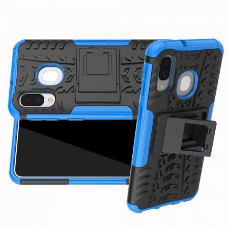 Двухкомпонентный Противоскользящий Гибридный Противоударный Чехол для Samsung Galaxy A40 с Подставкой Синий